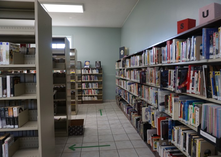 Library with books on shelves