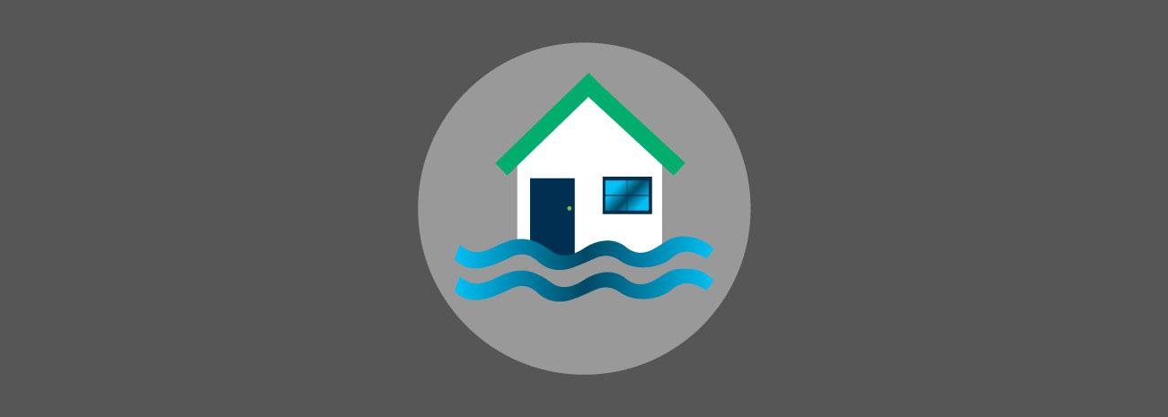 Icone maison avec eau et vague